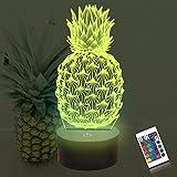 Lámpara de piña 3D, luces de noche Coopark para niños, cambio de iluminación regulable de 16 colores, lámpara de piña táctil, mesa de carga USB, decoración de dormitorio