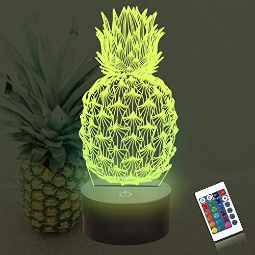 Pineapple 3D Night Light, CooPark Fruit Hologram Illusion Table Lamp with Remote Control 16 Colors Chaning 4 Flashing Mode, Home Decoration Unique Birthday Xmas Idea for Boy Girl Neighbor