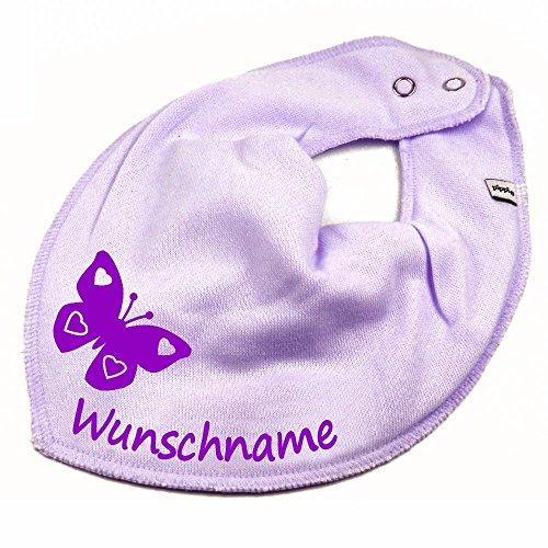Babero de mariposa con nombre o texto personalizable para bebé o niño, varios modelos morado Flieder