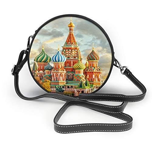 Moscú Rusia - Bolso bandolera para mujer, diseño cuadrado rojo, de moda, redondo