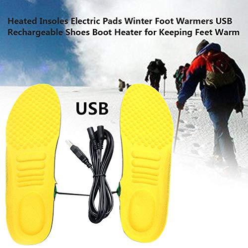 Beheizte Einlegesohlen Elektrische Pads Wärmer, Winter Warme Schuheinlegesohlen Schneidbare Winterfußwärmer USB Wiederaufladbar