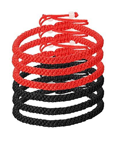 LOYALLOOK 6pcs Handmade Kabbalah Red Black String Good Luck Bracelet for Prosperity and Success Red/Black