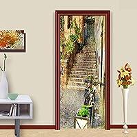 3DドアステッカーHdプリント屋内ドア壁画壁紙取り外し可能な自己接着ビニール壁デカールポスターDiyアーティスト家の装飾小さな町の風景PVC壁画-90cmx210cm