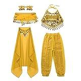 moily Kids Girls Arabian Princess Costume Sequins Belly Dance Outfit Halter Top Harem Pants 5 Pcs Set Yellow 7-8