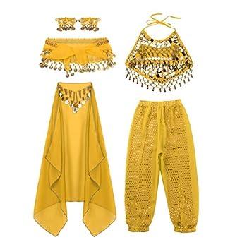 moily Kids Girls Arabian Princess Costume Sequins Belly Dance Outfit Halter Top Harem Pants 5 Pcs Set Yellow 8-10