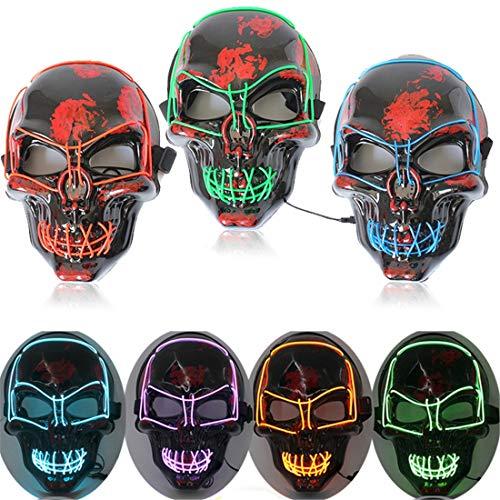 XUEE Halloween Led masker voor heren, brandt enorm doodsschedelmasker