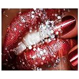 Diy redondo diamante pintura mujer labios rojos patrón de cuentas bordado kit de punto de cruz decoración del hogar sin marco-30X40cm