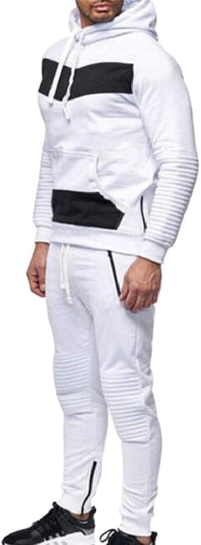 QDCACA Mens Hoodie Sweatshirt Top Jogger Pants Sets Sports Suit Tracksuit