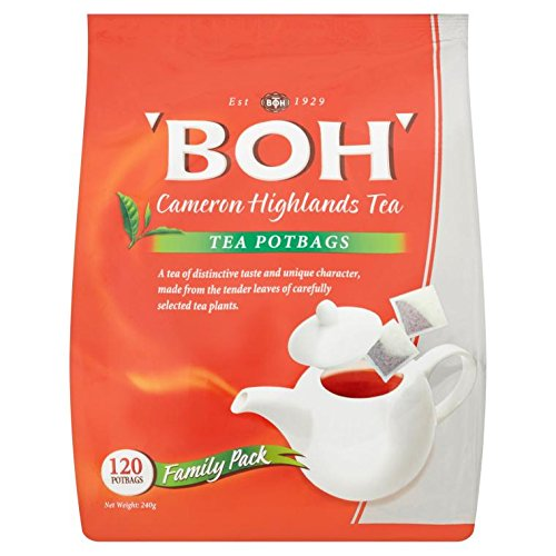 4-Pack/Malaysia BOH Classic Tea/Robust Full Body Flavor/Rich Golden Hue/Delicate Fragrant/Broken Orange Pekoe On Lush Cameron Hills/Satisfying Brew In Every Cup/Great Tasting Tea/120 potbags/ pack