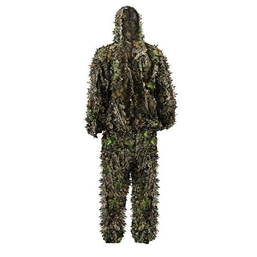 Kinder Tarnanzug, Jungle Regenponcho Ghillie Suit Camouflagemit Tarnkleidung Geeignet zum Verstecken von Spielen, Outdoor, Jagen (Grün, S)