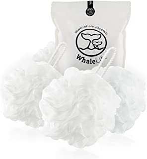 Bath Loofah Sponge Shower pouf Mesh Puff Shower Ball for Men And Women (White 4Pack 60g/Pcs), Body Scrubber, Big Full Lather Cleanse, Exfoliate with Beauty Bathing Accessories by WhaleLife