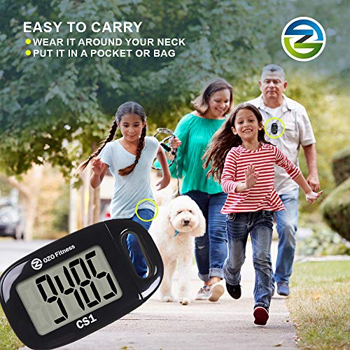 CS1 Easy Pedometer for Walking. Large Display Step Counter with Lanyard (Black)