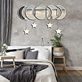 Moon Phase Mirror Acylic Wall Decor Mirrors Set with 4 Star Wooden,Wall Mounted Mirrors Boho Hanging Decorative for Home Decorative Festival Gift (Beige).