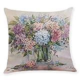 Unknown - Funda de cojín cuadrada, diseño de flores de hortensia en un florero, color azul, blanco y rosa
