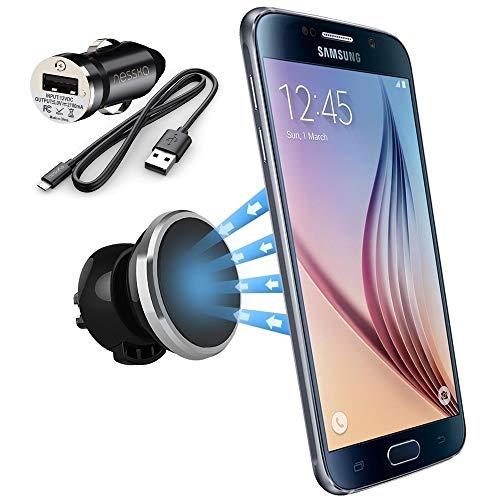 Produktbild NessKa® Universal Magnet Auto Handy Lüftung Halterung mit Ladefunktion + KFZ Ladegerät Micro USB Ladekabel FÜR Samsung Galaxy S7 S6 Edge S5 S4 A5 A3 A7 J3 J5 J7 Autohalterung Halter Huawei Sony Xperia