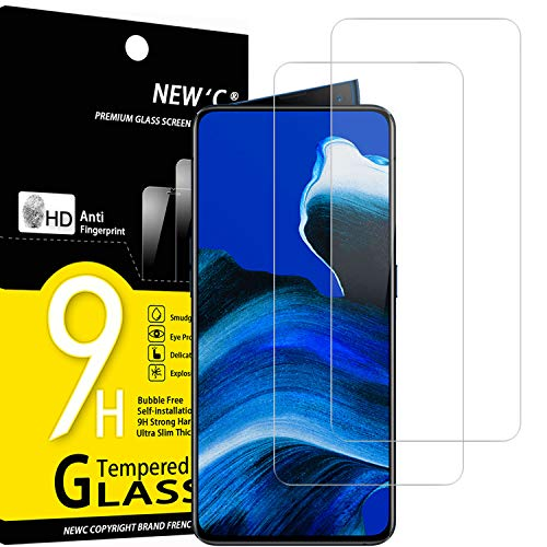 NEW'C Lot de 2, Verre Trempé Compatible avec Oppo Reno 2, Reno 2Z, Film Protection écran sans Bulles d'air Ultra Résistant (0,33mm HD Ultra Transparent) Dureté 9H Glass