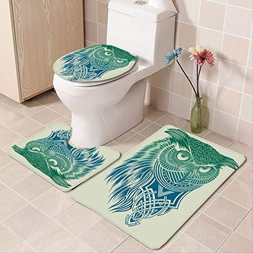 MLXZXQT Painted Owl Polyester Duschvorhang Badezimmer Wasserdicht Teppich Deckel Toilettendeckel Badematte Set Badezimmer Set Dreiteilige S