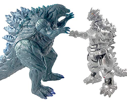 TwCare Set of 2 Big Godzilla Earth MechaGodzilla Figures King of The Monsters, 15' & 12' Head-to-Tail, Large Movable Joints Action Movie Series Soft Vinyl, Carry Bag