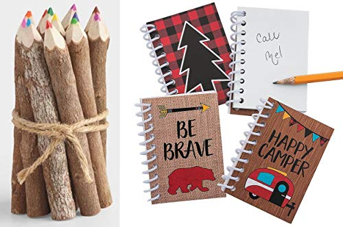 HAPPY DEALS ~ Woodland Camping Adventure Notepads - (24 Pack) and Colored Twig Pencils (12) Bundle