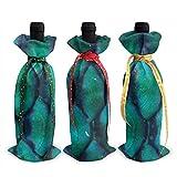 3 bolsas de botella de vino, escamas de pescado verde para Navidad, bodas, regalos de fiesta, suministros de Navidad, vacaciones y vino.