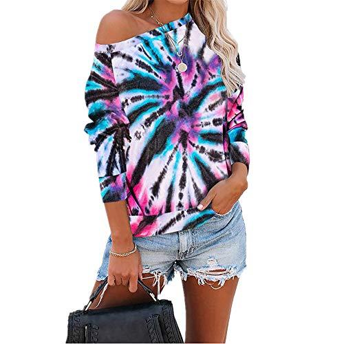 Herbstlicher Loser Batikdruck LangäRmeliger Pullover T-Shirt Frauen