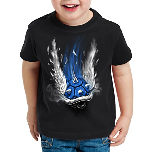 style3 Blauer Panzer T-Shirt für Kinder Kart Videospiel Konsole Mario, Farbe:Schwarz, Größe:152