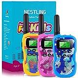 FUCUU Walkie Talkie para niños, Camuflaje 8 Canales Radio de 2 vías Juguetes Linterna LCD retroiluminada, Rango de 3 Millas para Actividades Infantiles (3 Piezas, Azul&Amarillo&Rosa)