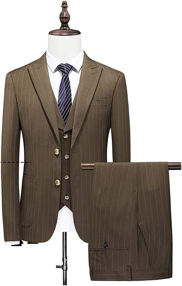 DIAOD (Suit + Vest + Pants Men Suit Set The Groom's Three-Piece Wedding Striped Suit/Man Suit Slim Fit (Color : Khaki, Size : 4XL 81-85kg)