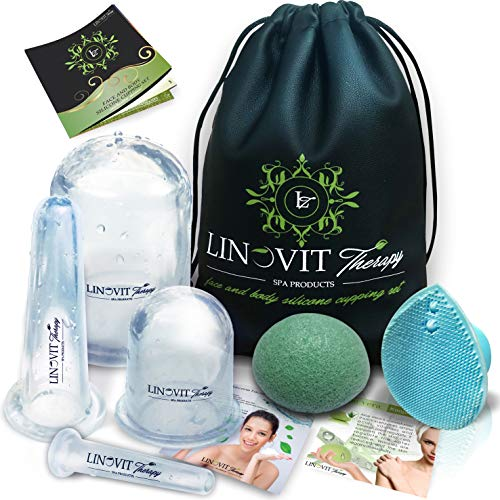Facial Cupping - Cupping Therapy Set - Facial Cupping Set with Konjac Sponge, Cellulite Cup, Massage Cups, Ventosas para masaje