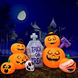 HBlife 8 FT Halloween Decorations Inflatable Pumpkin, Blow Up Animated Gray Tombstone Pumpkin with Build-in LEDs, Outdoor Inflatable Decoration for Front Yard, Porch, Lawm or Halloween Party Indoor
