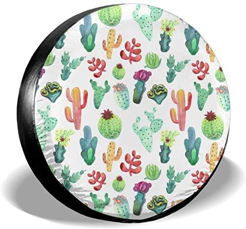 MODORSAN Cubierta de neumático de Rueda de Repuesto de Cactus Vibrante de Acuarela, Cubiertas de Rueda universales de poliéster para Jeep, Remolque, RV, SUV, camión, Accesorios, 16 Pulgadas