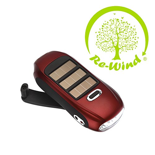 NEW Re-Wind Eco Friendly Compact Pocket Torch - Features: Wind-up Action, Rechargeable and Solar Powered, Powerful 3 LED Beam, Red Colour - Ideal Accessory for Walking, Hiking, Camping, Festivals, Power Cuts, Car Breakdown Internal Emergency Light - Never Needs Batteries! 2 Year Worldwide Guarantee