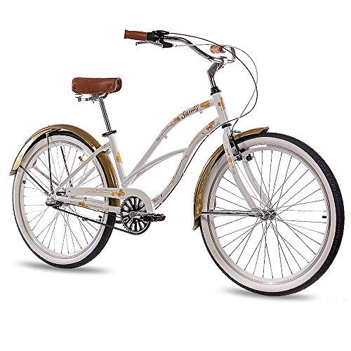 '26 pollici in alluminio beachc ruiser Damen Bicicletta chrisson Sandy con 3 marce shimano Nexus Oro Bianco