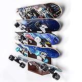 Sunix Skateboard Wall Rack Storage, Holds 5 Pairs, Longboard Wall Display Pine Tool Rack, Home and Garage Storage Hanger