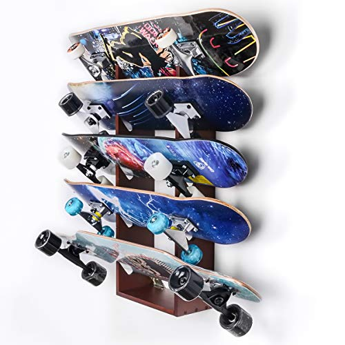Sunix Skateboard Wall Rack Storage, Holds 5 Pairs, Longboard Wall Display Pine Tool Rack, Home and Garage Storage Hanger
