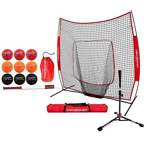 PowerNet Batting Enhancer Bundle for Baseball Softball | Improve Hand-Eye Coordination | Includes 7x7 Net, Deluxe Tee (2.5Lbs), 31'/28oz Sweet Spot Training Bat & 3.2' Progressive Weighted Ball 9 PK