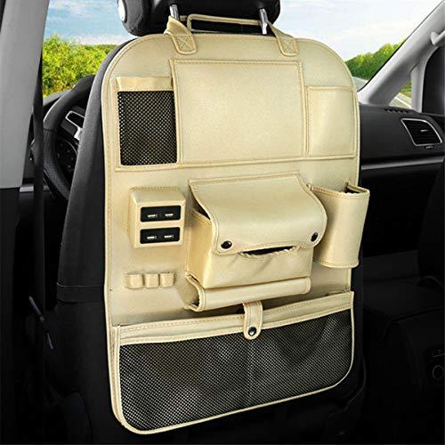 Hitommy Multifunktionale Aufbewahrungstasche für Autositz, PU-Leder, Flaschenhalter mit USB-Ladeanschluss schwarz