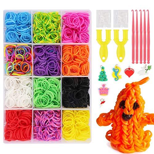 JWTOYZ Loom Bänder Box, Loom Bänder Set Gummibänder, 2,400 Bänder, 5 Häkelnadeln, 6 Charms, 2 Weber, 100 S-Clips