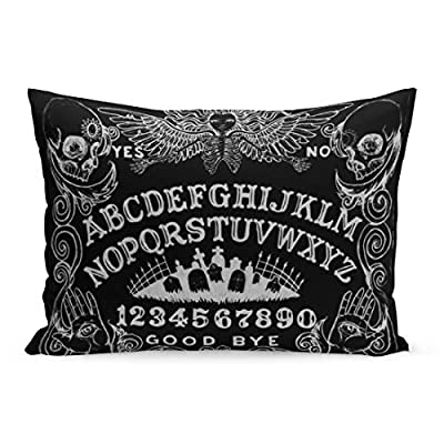 Aikul Throw Pillow Cover Spirit Witch Board Black Gothic Goth Occult Witchcraft Pillow Case Cushion Cover Lumbar Pillowcase Decoration for Couch Sofa Bed Car, Standard Size 20 x 26 inchs