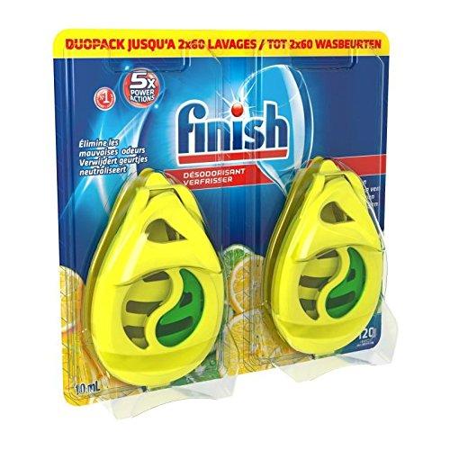 FINISH W4B Pack de 2 désodorisants pour lave-vaisselle - Parfum citron et citron vert - 2 x 60 lavages