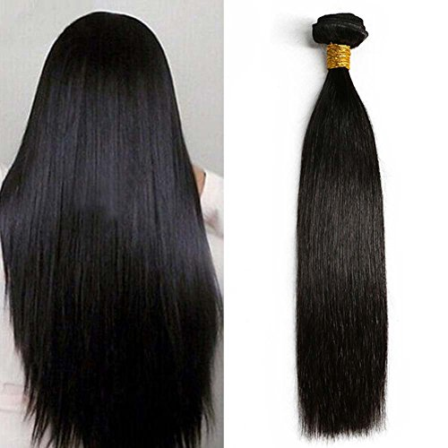 Moresoo 26pouces/65cm Silky Straight Meches Bresiliennes Extension Cheveux Noir Naturel Tissage Remy Bresilien Humain Hair Extensions de Cheveux Humai