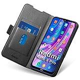 Hülle Xiaomi Note 8 Pro, Schutzhülle Redmi Note 8 Pro mit Kartenfach, Handyhülle Mi Note 8 Pro, Tasche Leder, Etui Folio Flip Cover Hülle, PU TPU Klapphülle Komplettschutz Mi Note8 Pro Phone. Schwarz