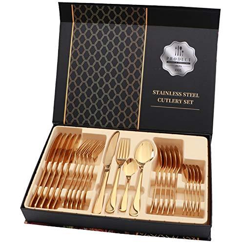 rismart 24 Pezzi Set di Posate Posati Argenteria, Includere Coltello, Forchetta, Cucchiai da minestra, Cucchiaini da caffè,Oro