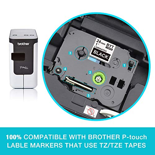 """Compatible Label Tape Replacement for Brother Ptouch TZe-355 TZE355 24mm x 8m 0.94"""" x 26.2' Standard Laminated White on Black Work with PT-D600 PT-P700 PT-2430PC PT-D600VP PT-D800W ,2-Pack Photo #4"""