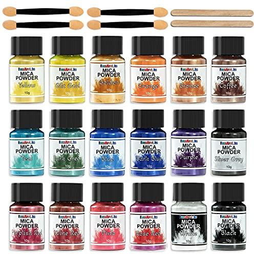 Mica Poudre 18 Couleurs x 10g - Poudre Peinture Métallique Pailleté -Colorant resine epoxy, Pigment resine epoxy - colorant de savon naturel -Maquillage, Poudre Nail Art, Bombes de bain, Bougies