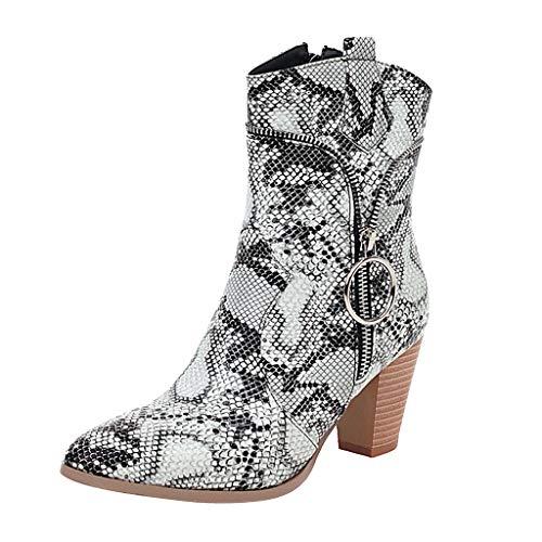 Posional Botines para Mujer Botines Descubiertos para Mujer Botas De Tubo Medio Sin Cordones con TacóN Cuadrado Casuales CóModo Y Elegante Zapatos Casual Boots Mujeres Invierno Antideslizante