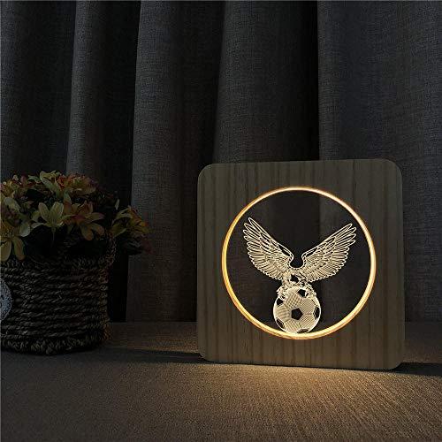 Qazqaz fútbol águila diseño 3D led arylic madera noche lámpara mesa interruptor control talla lámpara para amigos regalo ventilador