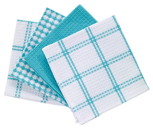 T-fal Textiles Cotton Flat Waffle Dish Cloth Highly Absorbent Machine Washable 12 x 13 Breeze 4-Pack