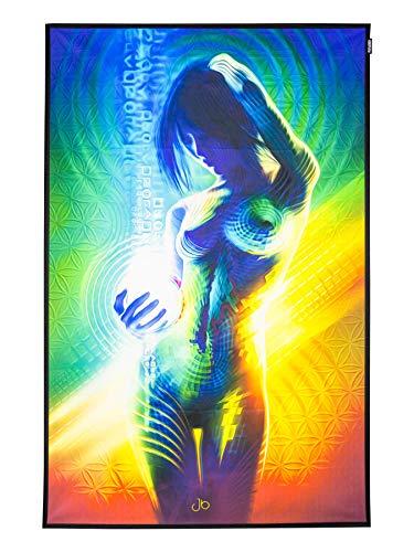 PSYWORK Schwarzlicht Stoffposter Neon Prismatic, 0,45x0,7m