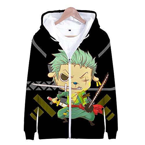 Nicoole One Piece Hoodie Veste Sweat 3D Imprimer Vogue Zipper Hoodies Hommes/Femmes Japonaise Hiver À Manches Longues Anime Hoodies Vêtements L